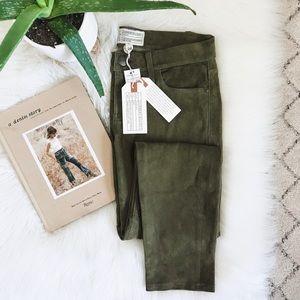 Current/Elliott   Olive Easy Stiletto Leather Pant
